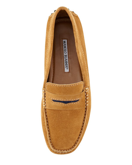 Terry-Trimmed Suede Driver, Camel