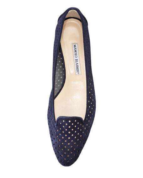 Sharifac Perforated Suede Flat, Navy