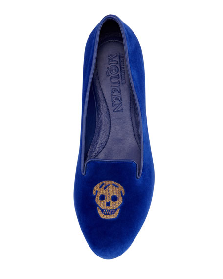 Embroidered Skull Smoking Slipper, Royal Blue