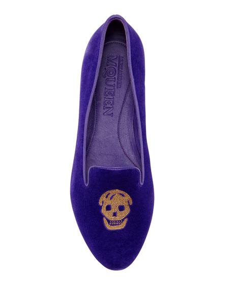 Embroidered Skull Smoking Slipper, Purple