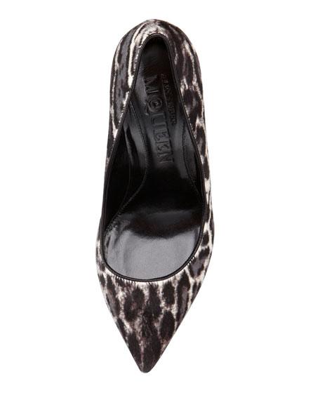 Leopard-Print Calf Hair Pump, Black/White