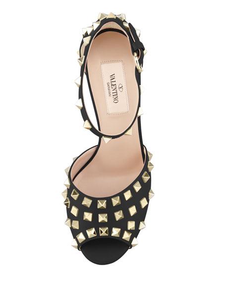 Rockstud Block-Heel Ankle-Wrap Sandal, Nero