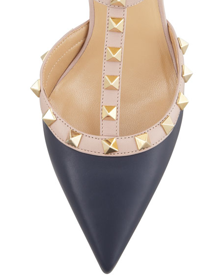 Rockstud Two-Tone Pointed Toe Pump, Marine