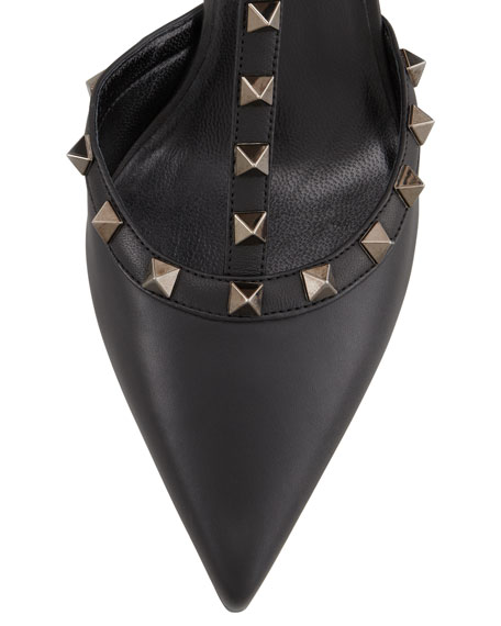 Noir Rockstud Leather Sling Back