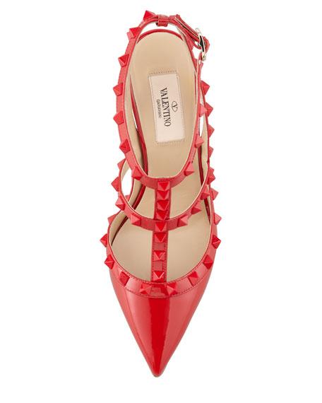 Rockstud Patent Slingback Sandal, Red