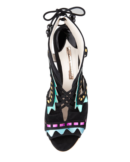 Riko Holographic Lace-Up Sandal