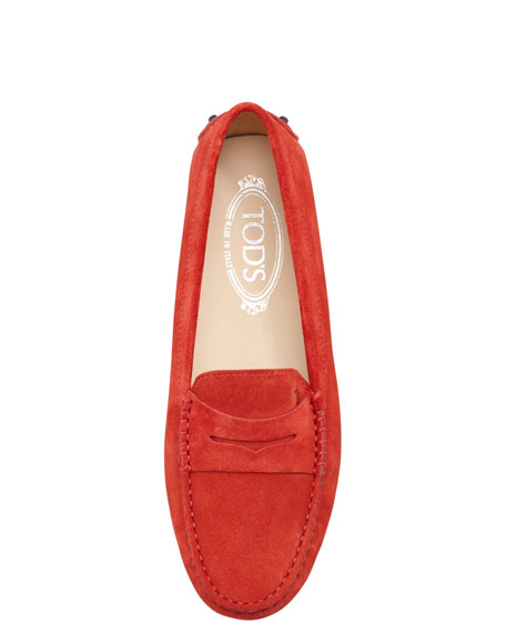 Suede Gommini Moccasin, Poppy Red