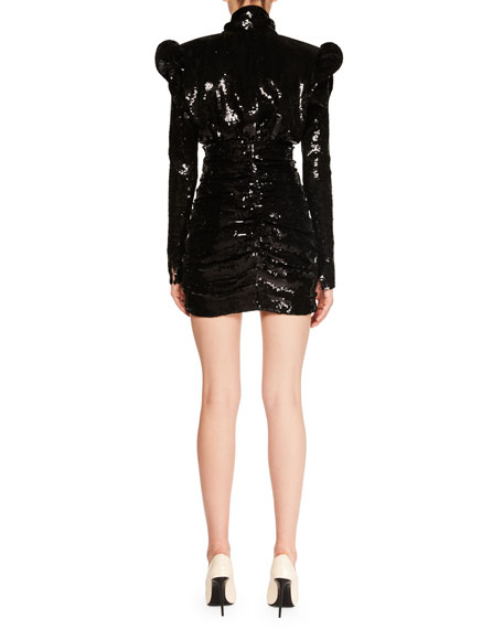Ruched Sequin Mini Cocktail Dress