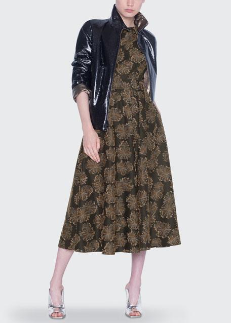 Metallic Reversible Zip-Front Jacket
