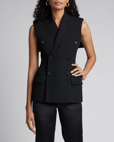 Wool Double-Breasted Fitted Vest with Cape