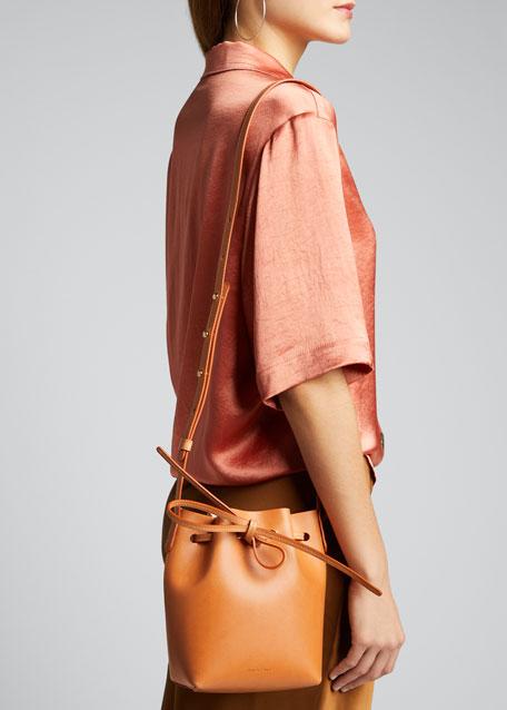 Vegetable-Tanned Leather Mini Mini Bucket Bag