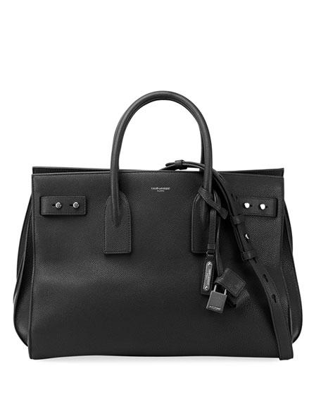 Medium Sac De Jour Grained Leather Tote - Black in Noir