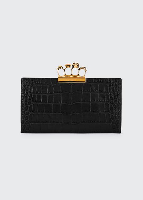 Knuckle Silky Crocodile-Embossed Flat Clutch Bag