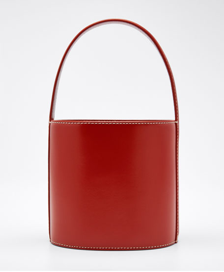 Image 1 of 1: Bissett Smooth Leather Top-Handle Bucket Bag - Saddle