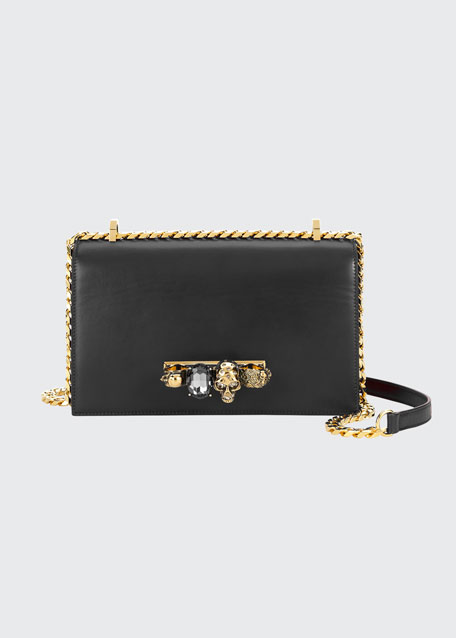 Image 1 of 1: Jewelled Satchel Bag - Golden Hardware