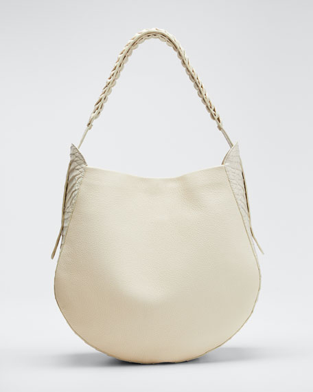 Image 1 of 1: Leather and Croco Hobo Bag