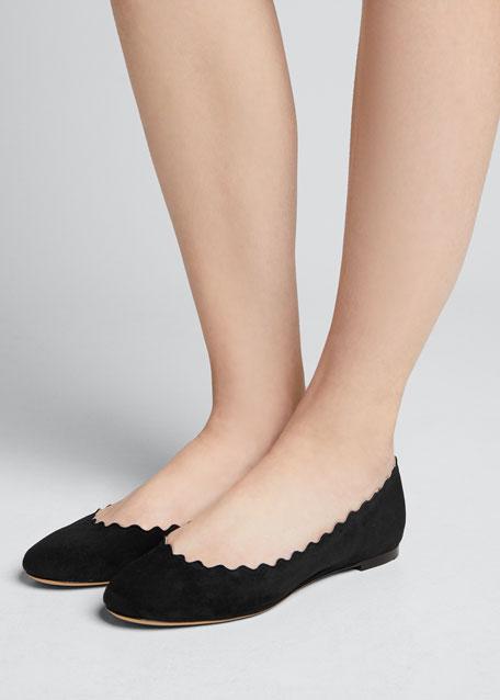 14bd6579 Lauren Scalloped Suede Ballet Flats