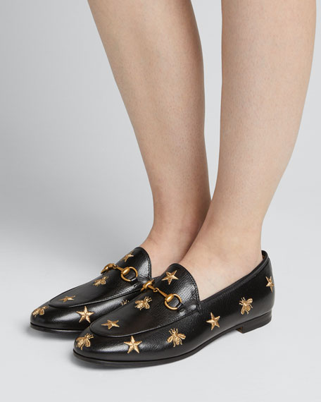 1674a457e07 Gucci Jordaan Star   Bee Leather Loafer