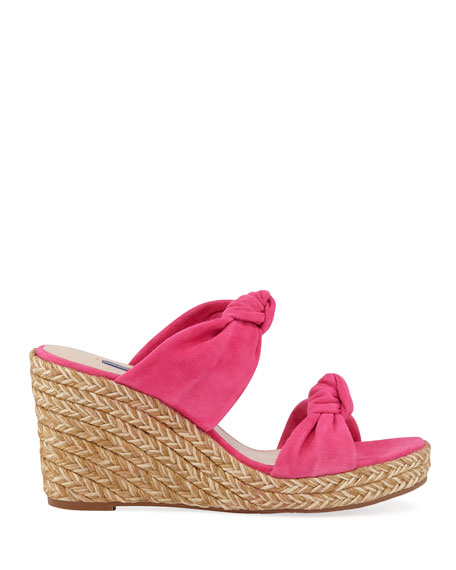 Sarina Knotted Suede Wedge Sandals