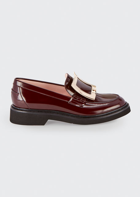 Image 1 of 1: Patent Leather Pilgrim Buckle Loafers
