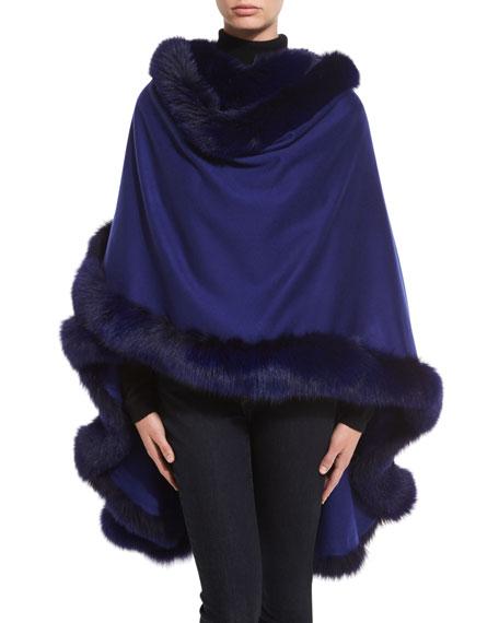 Fox Fur-Trimmed Cashmere U-Cape