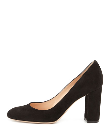 Suede Block-Heel 85mm Pump