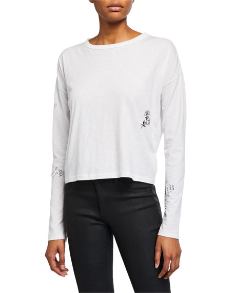 Tattoo Embroidered Cropped Long-Sleeve Tee