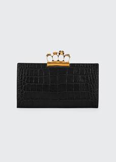 Knuckle Silky Crocodile Embossed Flat Clutch Bag by Alexander Mc Queen
