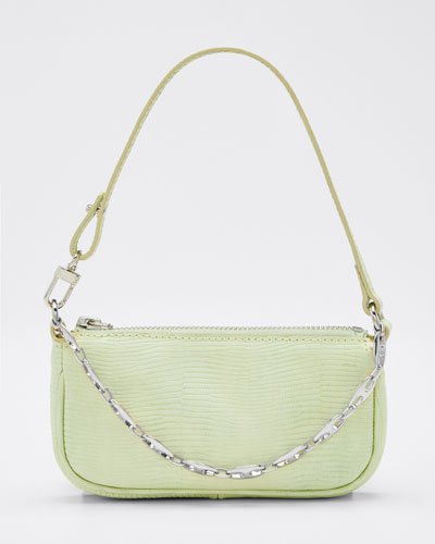 Rachel Mini Lizard-Print Leather Shoulder Bag