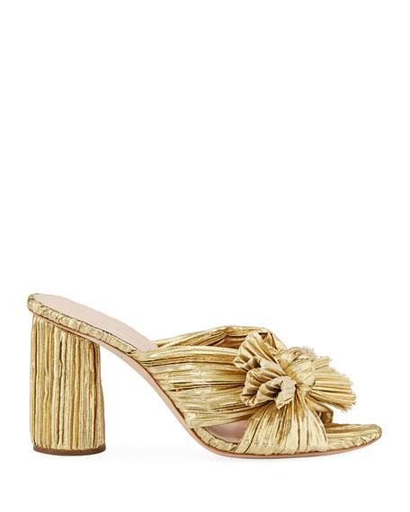 Penny Pleated Metallic Slide Sandals