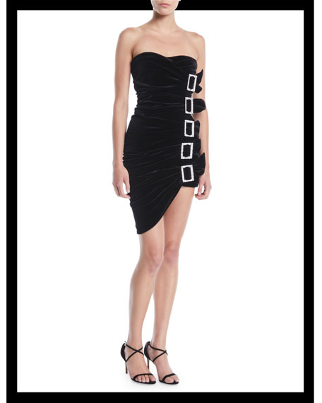 Sweetheart-Neck Strapless 5-Buckle Ruched Velvet Mini Cocktail Dress