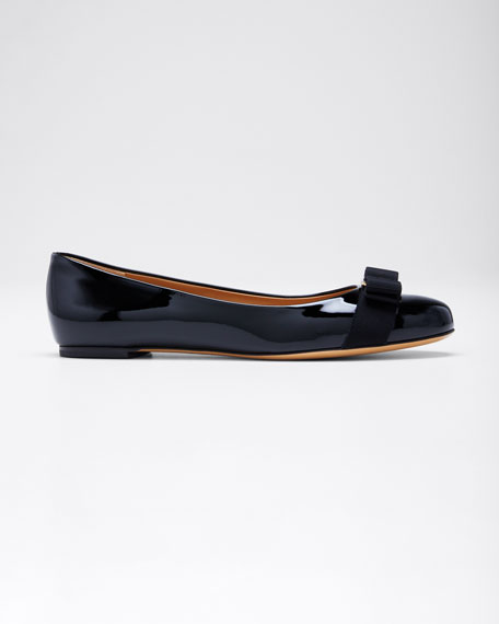 Patent Bow Ballet Flats, Nero