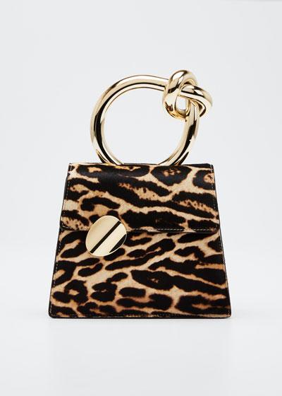 Brigitta Small Flap Leopard Calf Hair Top Handle Bag