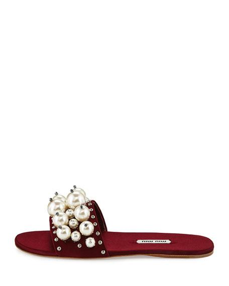 Pearly Embellished Satin Mule Slide