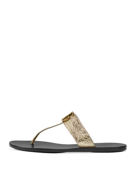 Marmont Flat Metallic Leather Thong