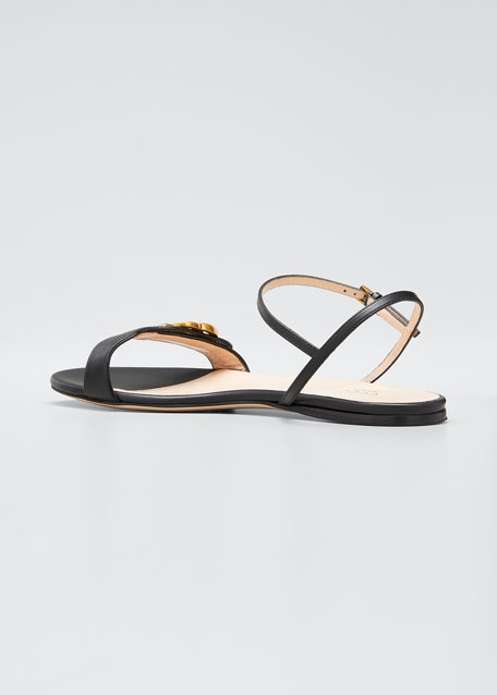 Marmont Flat Double-G Leather Sandals
