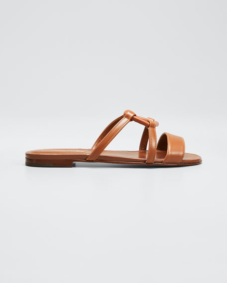 Image 1 of 1: Oratasa Flat Leather Slide Sandals