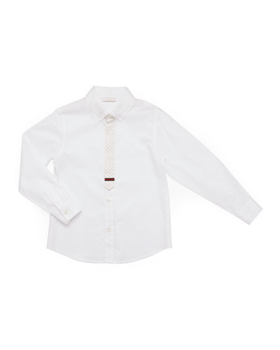 Long-Sleeve Button-Down Shirt, White, Kids