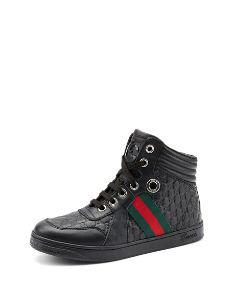 GUCCI JUNIOR LEATHER HIGH-TOP SNEAKER WITH WEB DETAIL