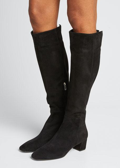 Low-Heel Suede Knee Boots