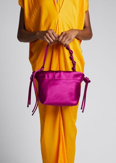 Satin Drawstring Bucket Bag