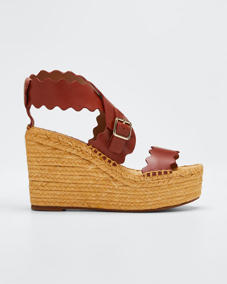 Image 1 of 1: Lauren Scalloped Leather Wedge Espadrilles