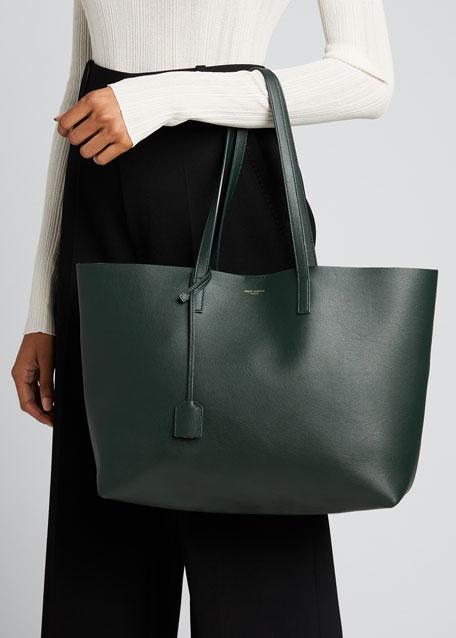 Large East-West Leather Shopper Bag