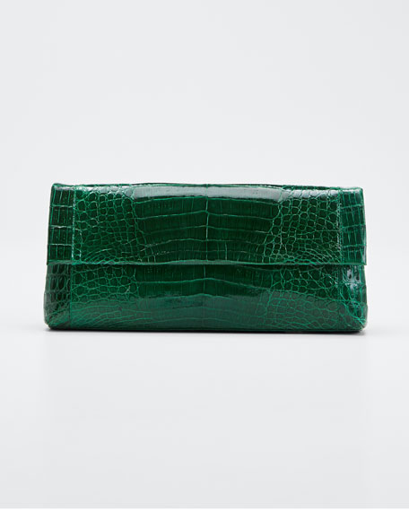 Image 1 of 1: Gotham Crocodile Flap Clutch Bag