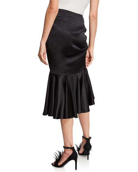 Elsie Gathered Silk Midi Tulip Skirt