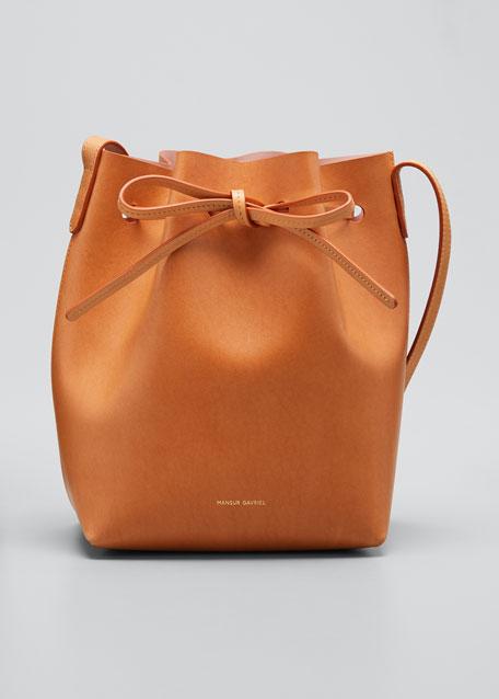 Vegetable-Tanned Leather Mini Bucket Bag
