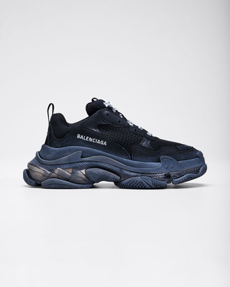Image 1 of 1: Triple S Air Nylon Sneakers with Logo, Noir