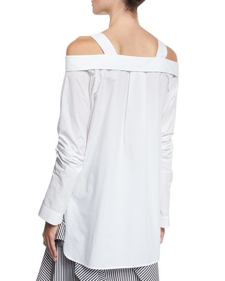 Cold-Shoulder Oversized Shirt Tunic