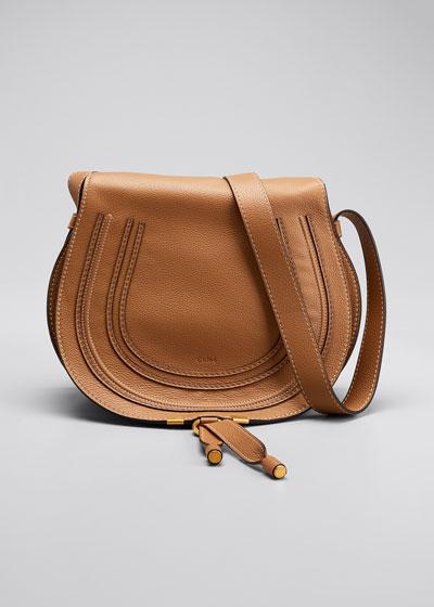 Marcie Medium Leather Crossbody Bag  Gray