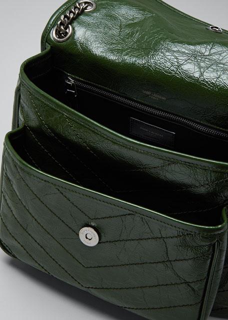 b88f6d0975 Saint Laurent Niki Medium Monogram YSL Shiny Waxy Quilted Shoulder Bag